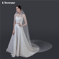 Luxury Cathedral Wedding Veils With Crystal Beads Comb Bridal Veil Voile Mariage Luxe Wedding Accessories One Layer White Ivory