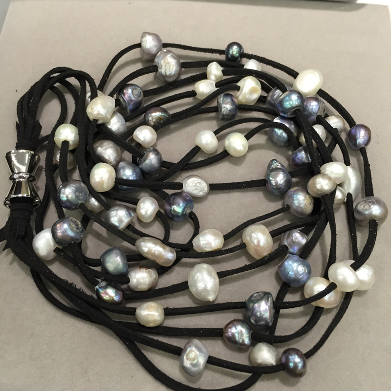 Leather pearl necklace 10 11MM long Natural fresh water pearl necklace grey mix color 4 layers