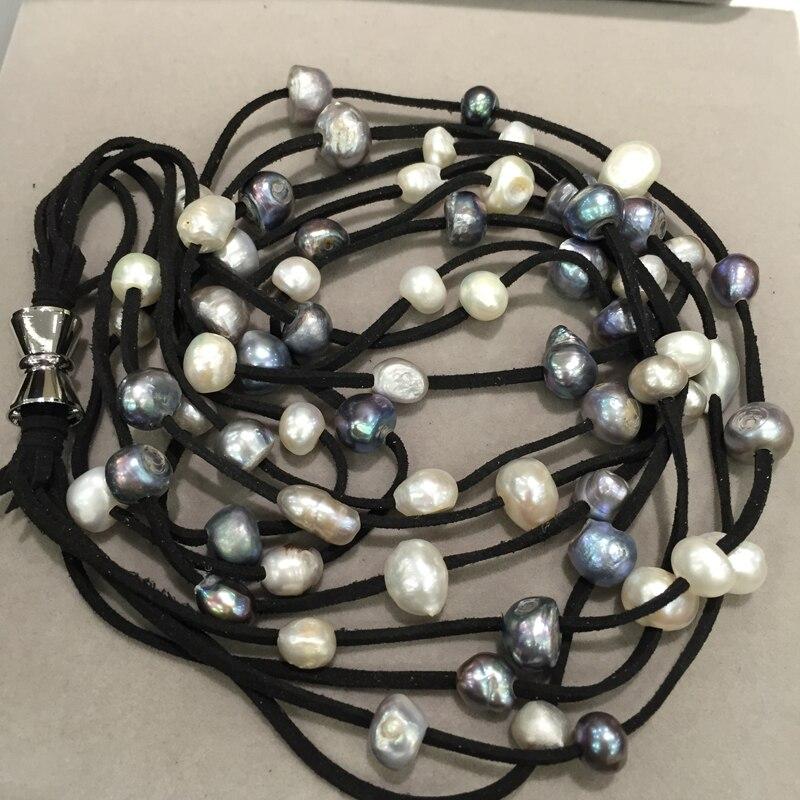 Collier de perles en cuir 10-11 MM long collier de perles d'eau douce naturelle couleur grise mélange 4 couches fermoir aimanté bijoux de mode