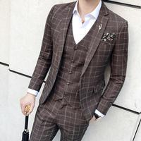 Коричневый Клетчатый костюм 3 предмета Винтаж Classic Fit костюм Homme Для мужчин S праздничная одежда плед смокинг костюм для выпускного Для мужчи