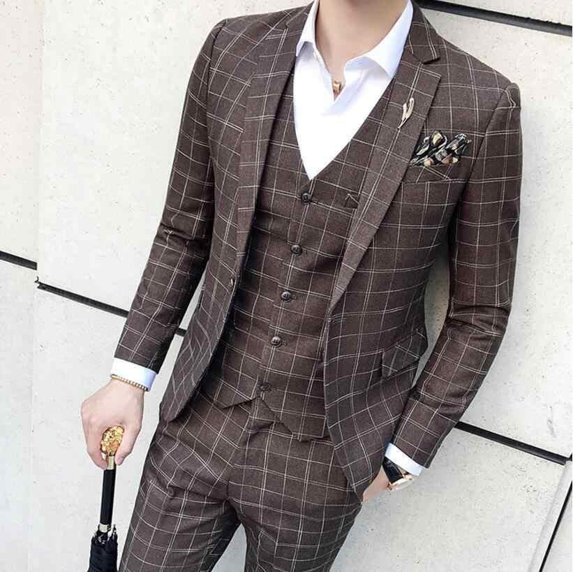 b81a39e2db1ec5 Brown Plaid Suit 3 Piece Vintage Classic Fit Suit Costume Homme Mens Formal  Wear Plaid Tuxedo