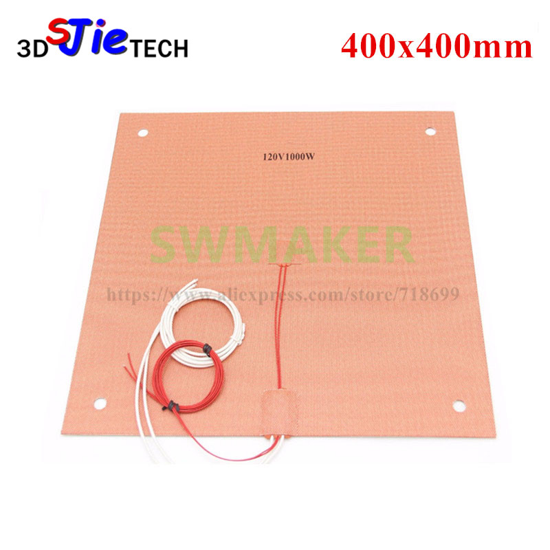 120/220V 1000W Silicone Heater heated bed 400x400mm for Creality CR-10 S4 3D Printer Silicone Heater Pad Bed with Holes