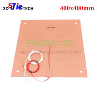 120/220V 1000W Silicone Heater heated bed 400x400mm for Creality CR 10 S4 3D Printer Silicone Heater Pad Bed with Holes