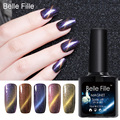 BELLE FILLE UV Soak Off Cat Eyes Chameleon Nail Gel Polish 10ml Gel Nails Polish Needs use Black Coat and Magnet Stick