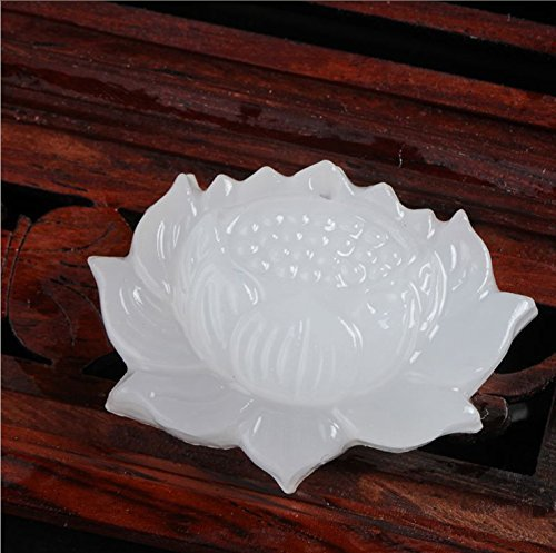 Chino Hecho A Mano Hermoso Natural Afganistán Jade Blanco Colgante de Loto Tallada Suerte Colgante de Jade Joyería