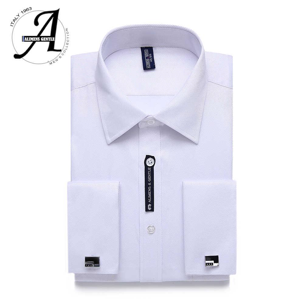 9adbaf198e3 Alimens   Gentle US Size French Cuff Mens Dress Shirt Long Sleeve Cufflink  Include Plus Size