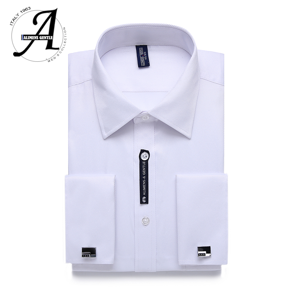 Alimens & Gentle US Size French Cuff Mens Dress Shirt Long Sleeve Cufflink Include Plus Size 18.5 Neck 18 Neck 17.5 Neck 17 Neck