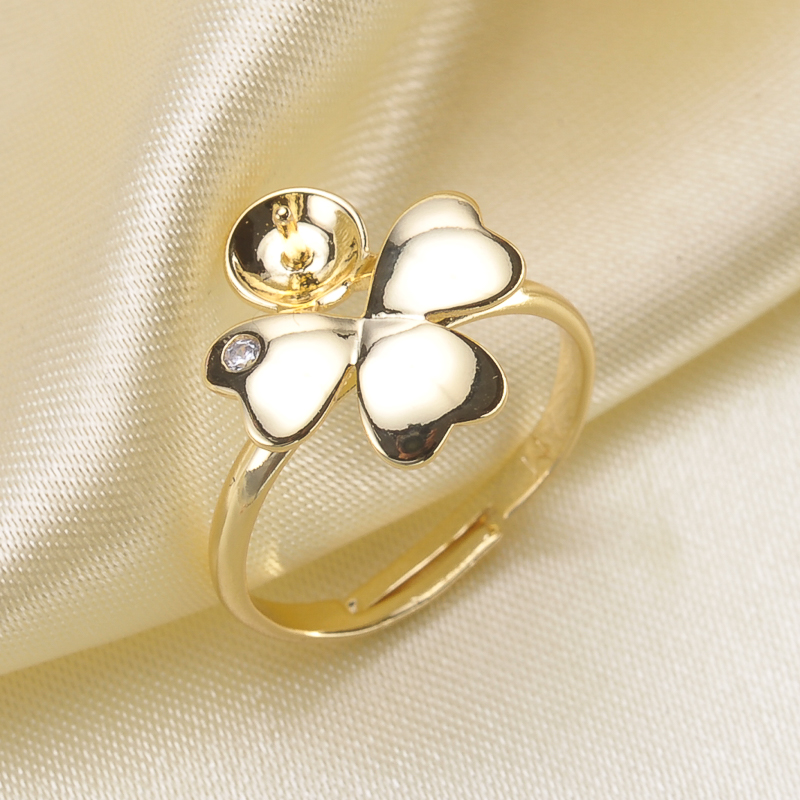 Delicate clover shape Pearl Ring Mounting with Shiny CZ, Sterling Silver Pearl /Coral/ Cystal/ Gems DIY Ring Fitting Accessory Кольцо