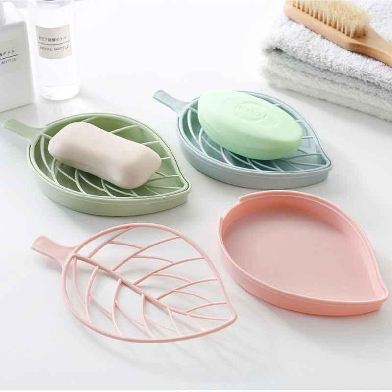 INS feuille forme boîte à savon plateau de douche randonnée bain maison conteneur support Portable voyage nouveau porte-savon couleur bonbon