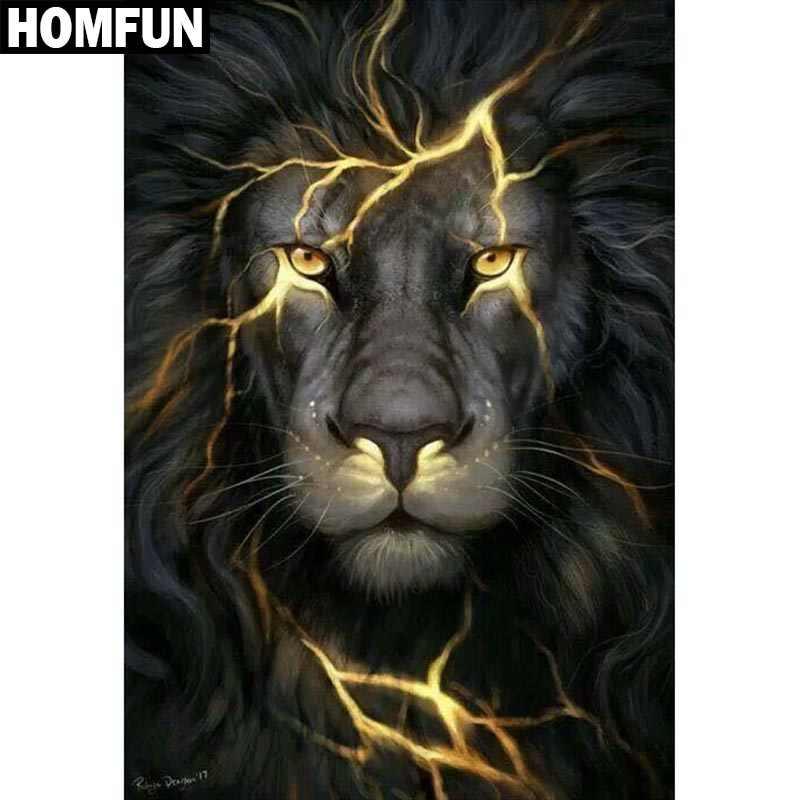 """HOMFUN Voll Platz/Runde Bohrer 5D DIY Diamant Malerei """"Tier lion"""" Stickerei Kreuz Stich 5D Wohnkultur geschenk"""