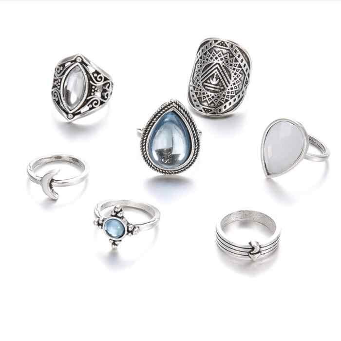 ร้อน7ชิ้นวินเทจบิ๊กโอปอลคริสตัลแหวนชุดสำหรับผู้หญิงสาวโบฮีเมียนสีเงินโบราณMidiแหวนชุดขาฤดูร้อนสไตล์