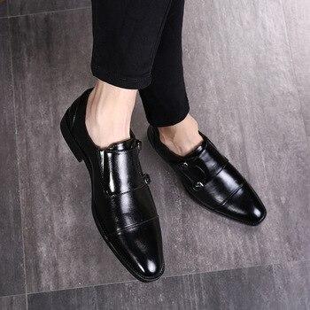 7d618e330 Cuero de la marca de lujo italiana zapatos formales hombres classic oxford zapatos  para hombres mocasines hombres zapatos doble monje Correa calzado