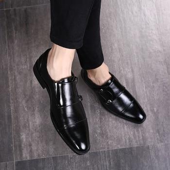 3f57e54c986 Zapatos formales de cuero de marca de lujo italianos zapatos de oxford  clásicos para hombres mocasines Zapatos de vestir de Hombre Zapatos de doble  correa ...