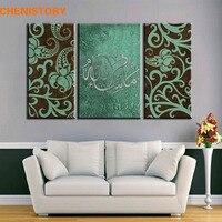Çerçevesiz 3 Panel Handpainted İslam Arapça Tuval Sanat Yağlıboya resim Maşallah Teal Gümüş Kahverengi Arapça Sanat Hat