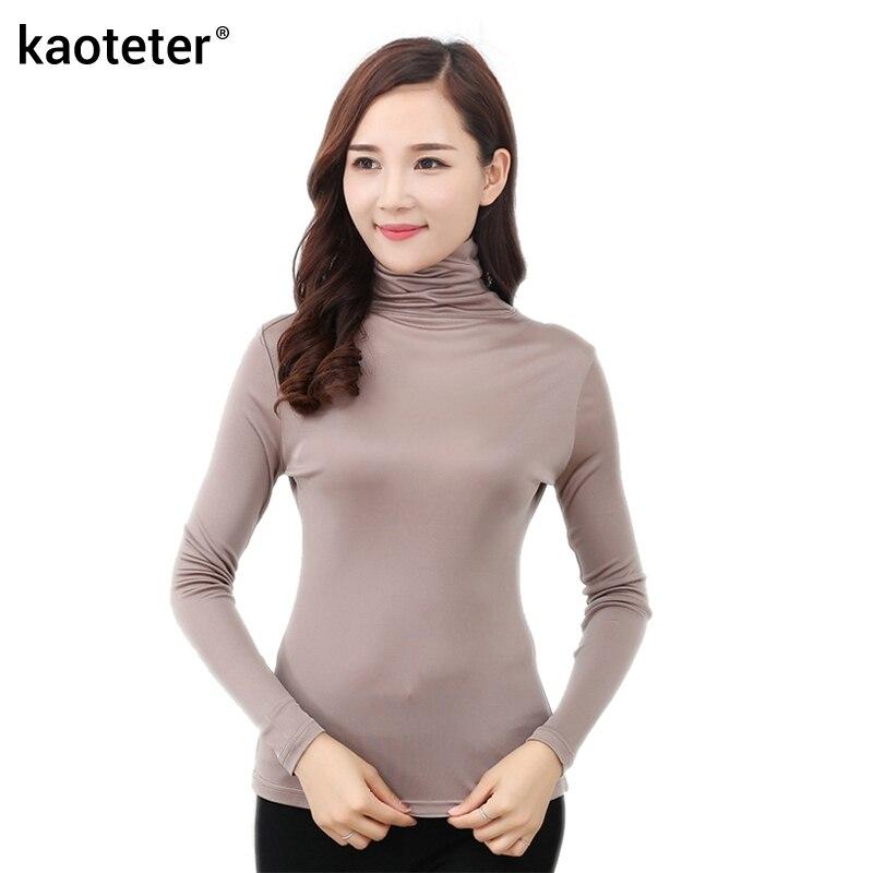 100% Pure Silk Women's   T  -  shirts   New Autumn Basic Long Sleeve Turn-Down Collar Casual Female Tees   Shirt   Tops