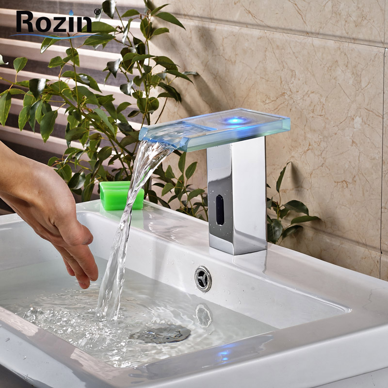 Chrome Brass Automatic Intelligent Sensor Faucet for Counter Wash Basin Bathroom Touchless Faucet