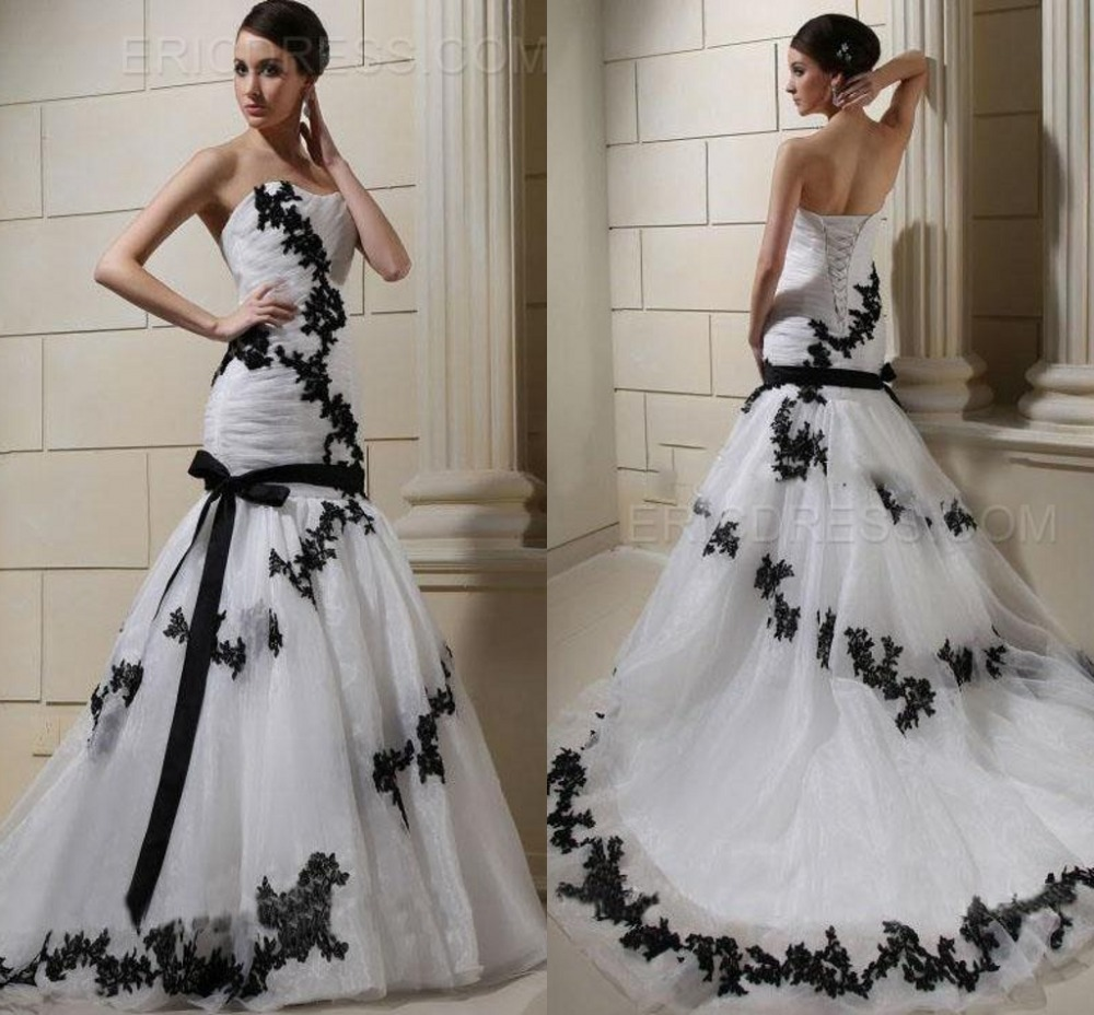 Gallery Of Cheap Black And White Sweetheart Lace Up China Fashionable Mermaid Wedding Dresses Bridal Gowns Vestido With