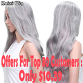 Long Curly Grey Ombre Pink Wig Cheap Synthetic Wigs For Black Women Best Natural Looking Grey Hair Wigs Womens Wigs Synthetic