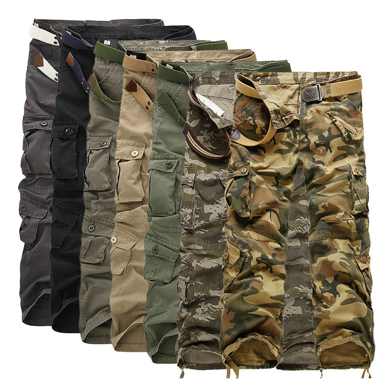 Man Pants Men Trousers Military-Style Workout Tactical Camouflage Straight Casual Cotton