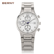 2017 New Sale BERNY Brand Luxury Full Stainless Steel Watch Men Business Casual Quartz Watches Military Wristwatch Waterproof