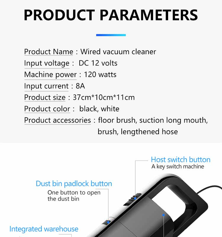 Car Vacuum Cleaner 12V 120W 4000pa Auto Vacuum Cleaner 4.5m Wire Portable  Mini Handheld Universal Goods Electronic Accessories|Vacuum Cleaner| -  AliExpress