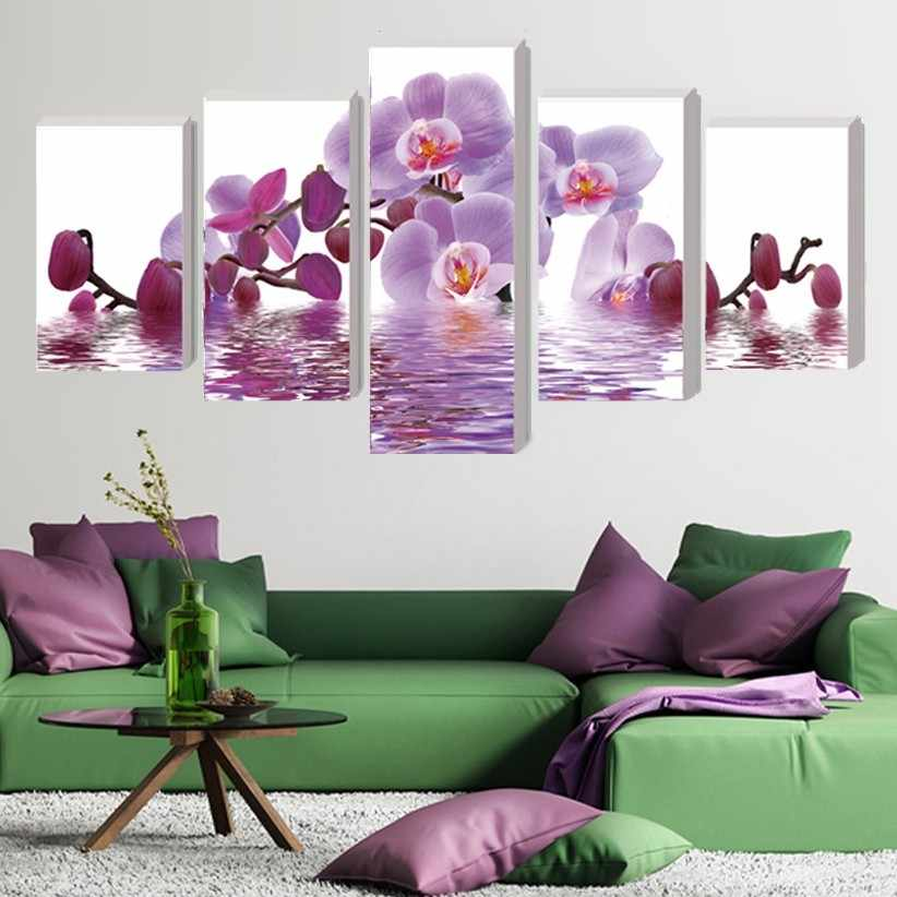 Nordic 5 Pcs Set Canvas Oil Painting Art Movie Poster Home Decoration Purple Butterfly HD Print Modular Picture Child Room Decor
