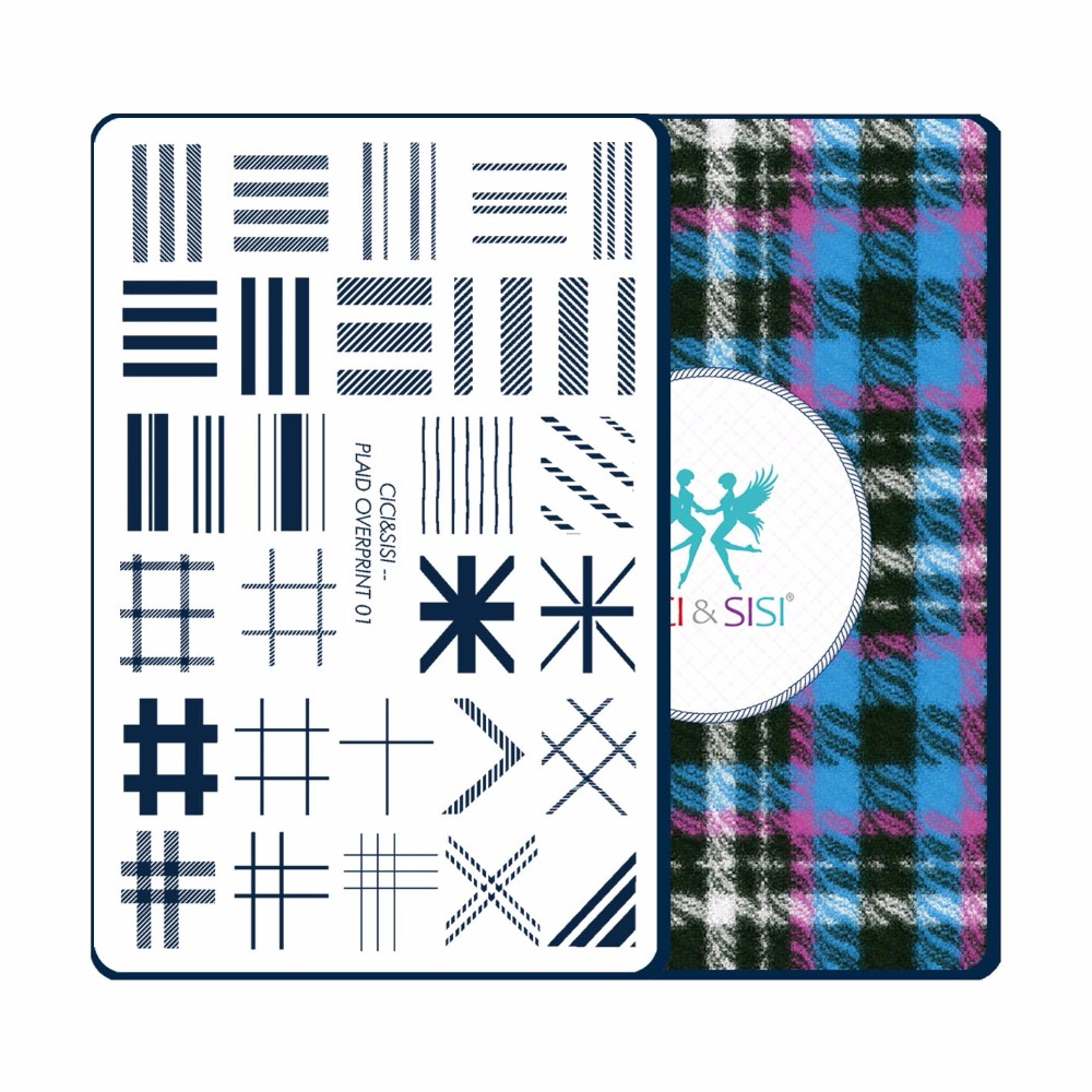 CICI&SISI China Style Nail Art Stamping Plates Stamping Stamp Template Accessories Plaid Overprint 01-04