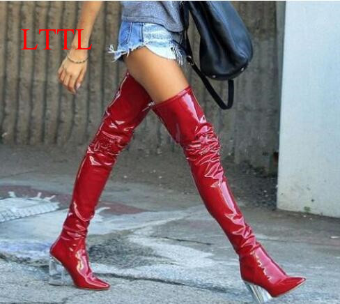 LTTL Real Picture 2016 Fashion Women Thigh High Boots 9cm Perspex High Heels Over the Knee Celebrity Shoes Clear Heels image