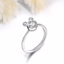 New Arrival Silver Color Dazzling Miky Mouse Rings With Cubic Zirconia Fits Brand Ring For Women Girl Engagement Jewelry