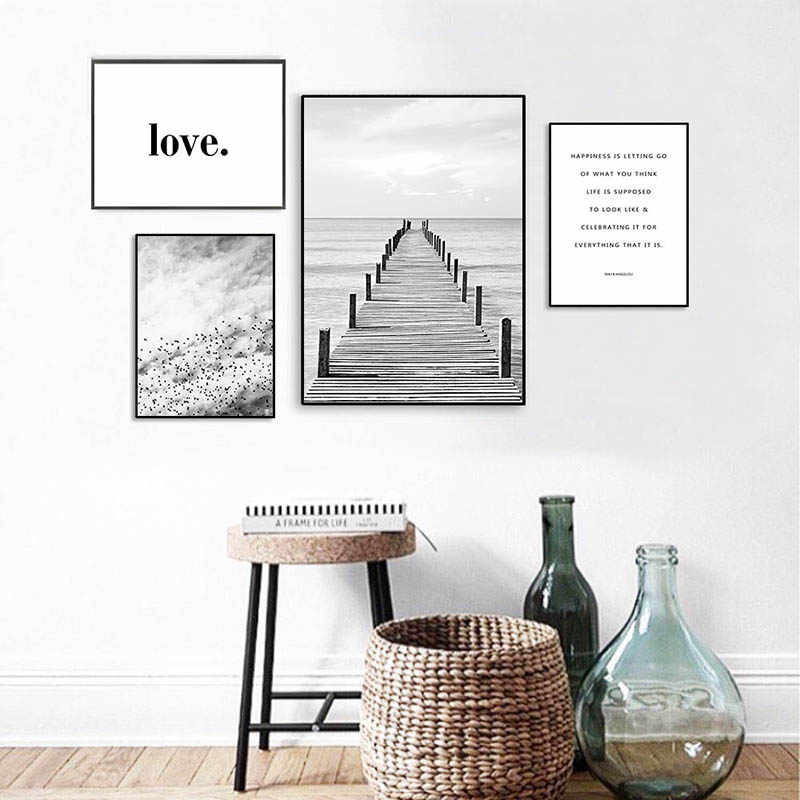 Minimalist Nordic Landscape Wooden Pier Bridge Canvas Painting Prints Home Decoration Wall Art Modular Hang Pictures Poster