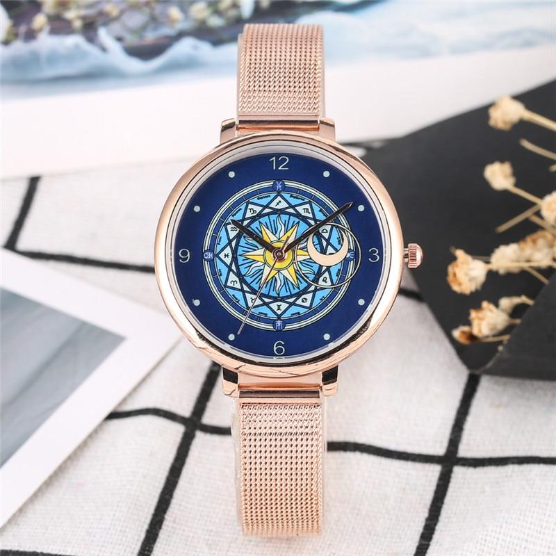 2019 Women Watch Quartz Analog Watch Cardcaptor Sakura Dial Ladies Watches Steel Mesh Band Clock Female Gifts Zegarek Damski
