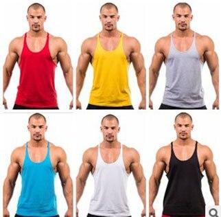 Erkekler Katı Atlet Geri Spor Giysi spor Yelek Pamuk Stringer vücut Ekipmanları Fitness Salonu stringer Tank Top erkekler Gömlek