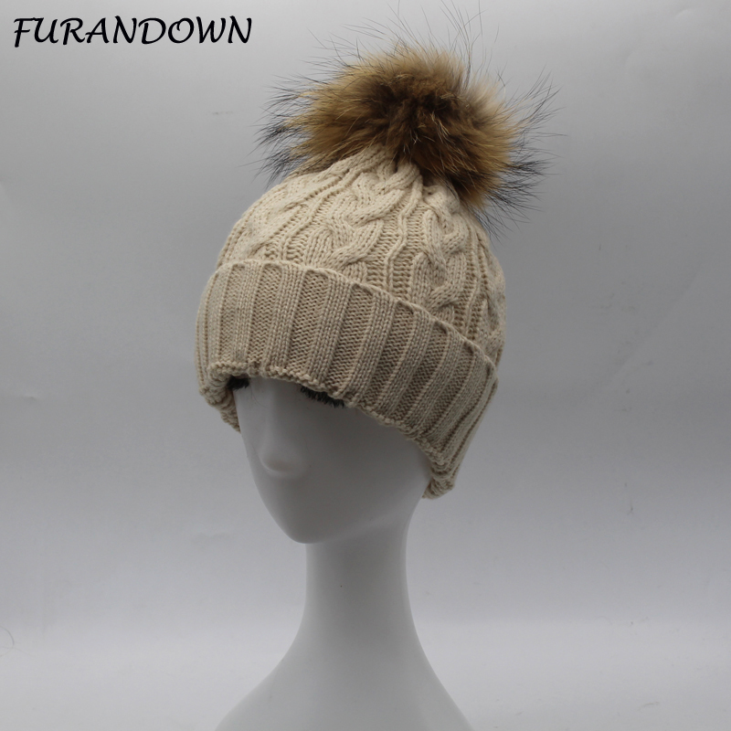 2017 Winter Brand New Colorful Snow Caps Wool Knitted Beanie Hat With Raccoon Fur Pom Poms For Women Men Hip Hop Skullies Cap new star spring cotton baby hat for 6 months 2 years with fluffy raccoon fox fur pom poms touca kids caps for boys and girls