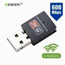 Kebidu 600 mbps usb wifi adaptador 2.4 ghz 5 ghz antena wi-fi banda dupla 802.11b/n/g/ac mini receptor de placa de rede do computador sem fio