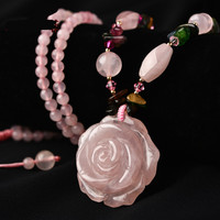 Pink Crystal Rose Sweater Chain Female Hibiscus Stone Long Autumn and Winter Wild Pendant