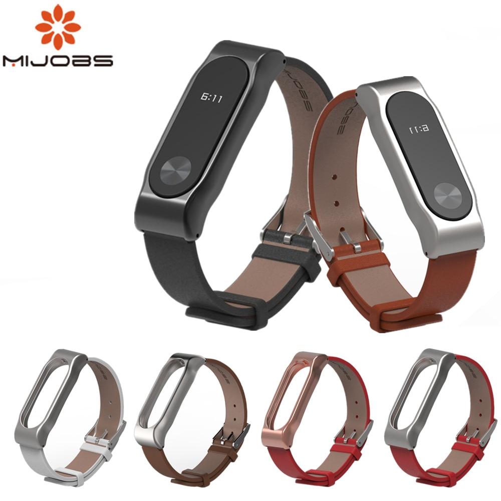 Mijobs Strap For Xiaomi Mi Band 2 bracelet for xiaomi mi band 2 Leather Strap Wrist Straps Screwless Bracelet SmartBand Replace