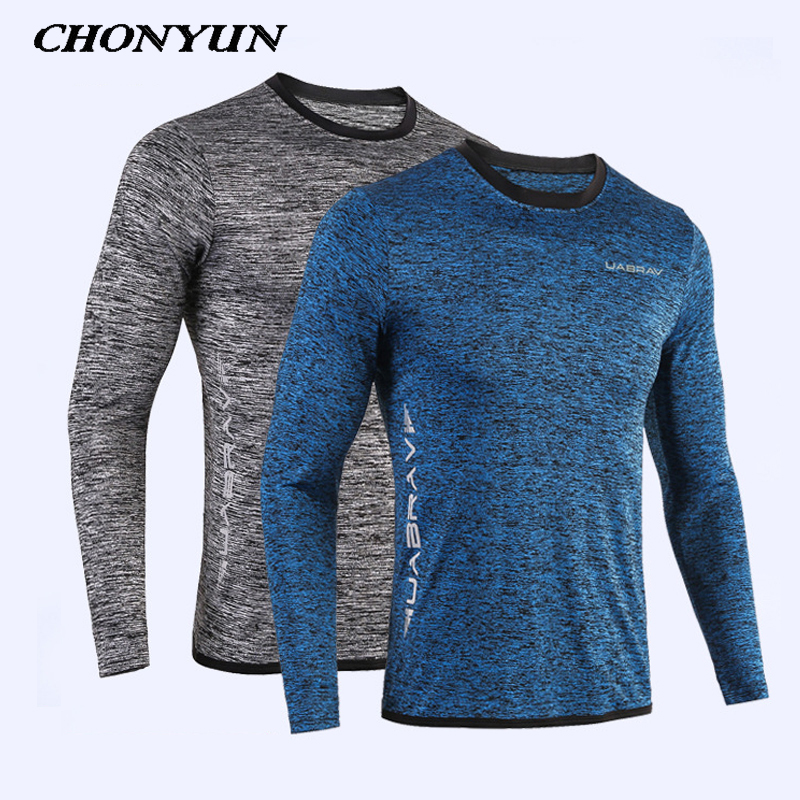 2019 New Running Shirt Men's Rashgard Long Sleeve Gym Shirt Sportswear Compression Dry Fit Shirts For Men Fitness Sport T-Shirts
