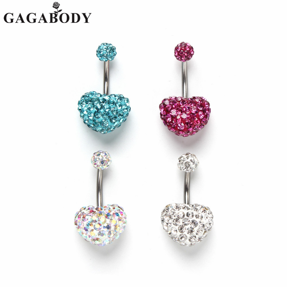 Valentine's Day Gaga 14g Belly Button Ring Heart Bling Czech Crystal  Classic Belly Button Naval Ring