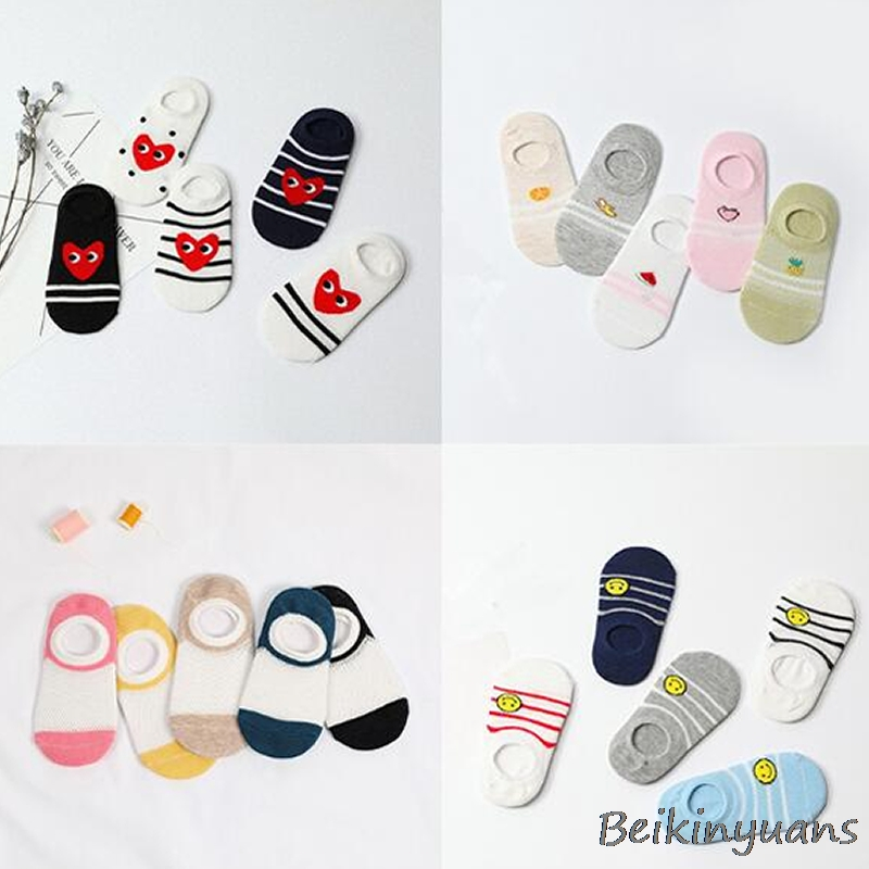 2018 Children's Socks New Mesh Boat Socks Head With The Same Color Lining Candy Color Cotton Children's Boat Socks