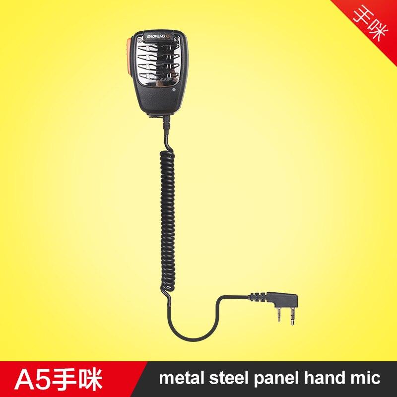 Nueva llegada de Metal portátil MIC micrófono de mano de hombro altavoz para Kenwood $TERM impacto Baofeng 888 s UV5R Walkie Talkie Radio de dos vías de tipo K
