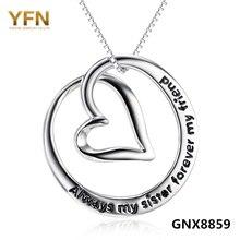 GNX8859 Auténtica Plata de Ley 925 Del Corazón Colgante Collar Siempre Hermanas Amigos Para Siempre Amor Collar de La Joyería Para Las Mujeres