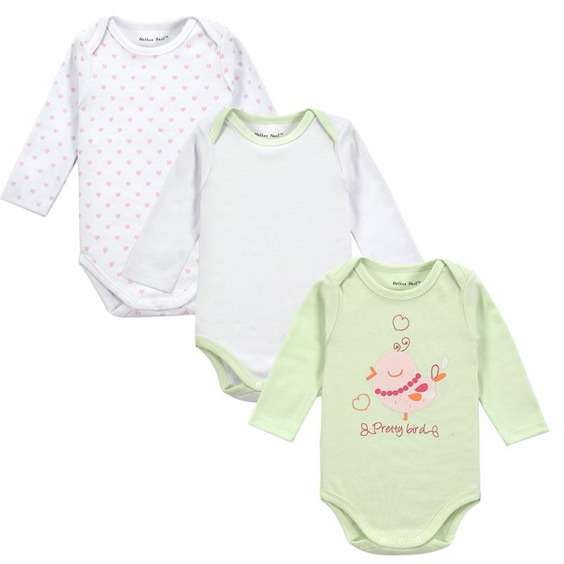 Venta al por menor, 3 unidades/lote, estilo de dibujos animados, Ropa de invierno para bebé recién nacido, Body para bebé