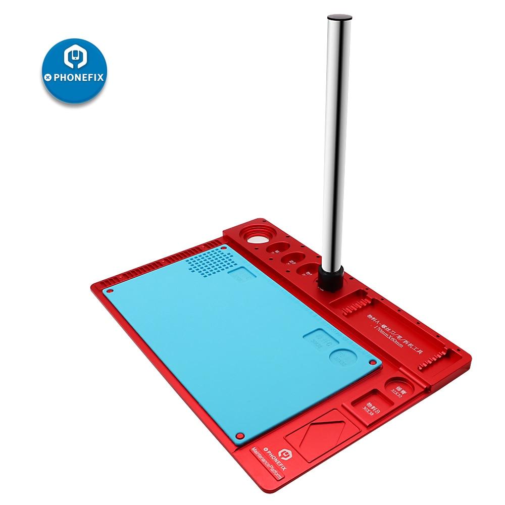 PHONEFIX Phone Repair Pad Microscope Metal Stand Base With Stainless Steel Bracket Phone Maintenance Platform Aluminum Alloy Mat