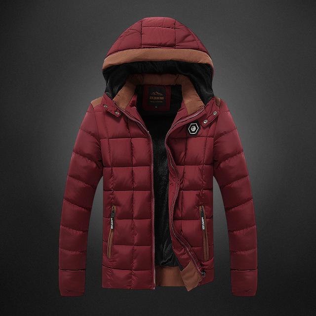 20016 otoño/invierno largo youth daily insignia hombres encapuchados chaqueta de algodón acolchado cálido musgo pluma de ocio de algodón ropa de algodón acolchado