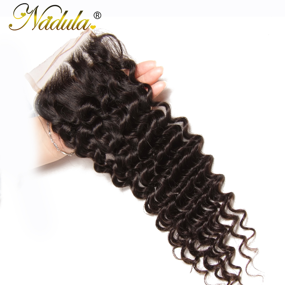 Nadula Hair Peruvian Deep Wave Bundles With Closure 4*4 Free Part Closure With Peruvian Human Hair Weaves 3 Bundles With Closure
