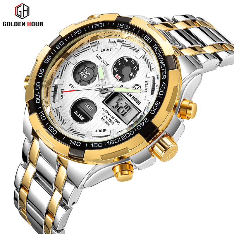 GOLDENHOUR Top Brand Luxury Watches Men Waterproof Casual Fashion Sport Military Quartz Watch Date Relogio Masculino Male Clock relogio masculino high quality waterproof watches men guanqin top brand luxury watch fashion casual clock military quartz watch