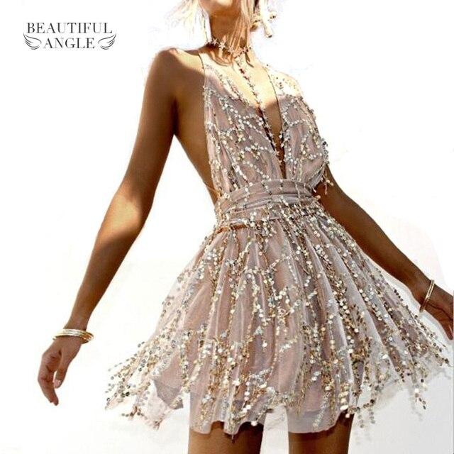 9792ebbc44502 US $21.96 |Aliexpress.com : Buy Women Backless Dress 2018 Summer Sleeveless  Straps Party Hippie Dresses Tassel Sequins Backless Sexy Dresses Beach ...