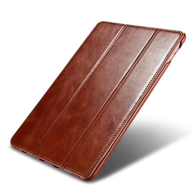 "Original ICARER For iPad Pro 9.7 Case Vintage Genuine Leather Flip Folio Smart Case For iPad Pro 9.7"" 2016 Released Stand Cover"