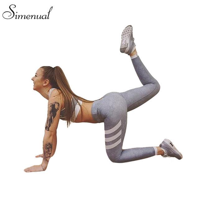 Athleisure rayas moda harajuku legging gimnasio sexy gris delgado empuje hacia arriba elástico medias Leggins jeggings de las polainas para las mujeres