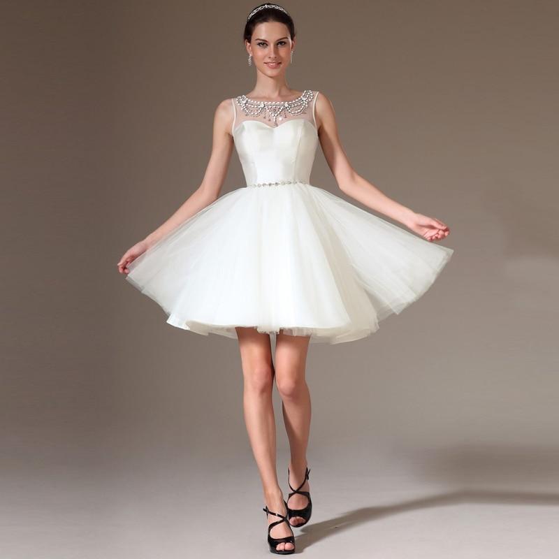 KSD185 See Through Back White Short Prom Dress Puffy